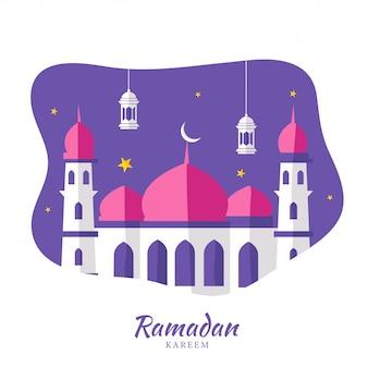 Mois sacré islamique du ramadan kareem avec belle mosquée en papier, lanternes suspendues sur fond violet et blanc.