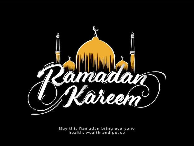 Mois sacré islamique du ramadan kareem avec mosquée jaune sur fond noir.