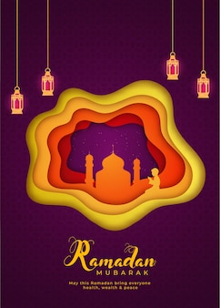 Mois sacré islamique du ramadan moubarak concept avec des lanternes suspendues, mosquée sur fond de papier en couches.