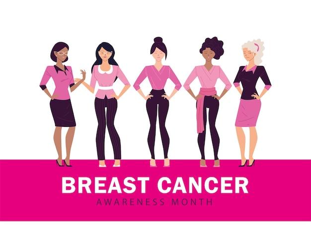 Mois de sensibilisation au cancer du sein avec design féminin