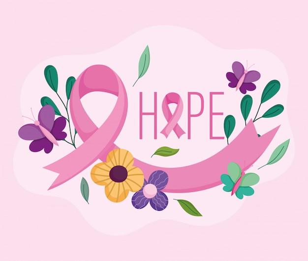Mois de sensibilisation au cancer du sein espère fleurs de phrase positive et conception de vecteur de ruban et illustration