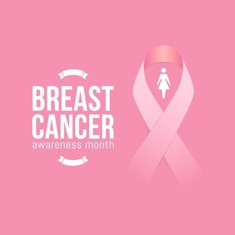 Mois de sensibilisation au cancer du sein en octobre avec un ruban rose réaliste