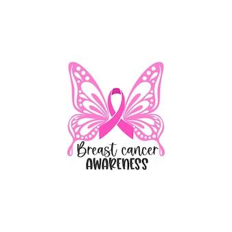 Mois de sensibilisation au cancer du sein avec ruban d'ailes de papillon rose pour la campagne de soutien