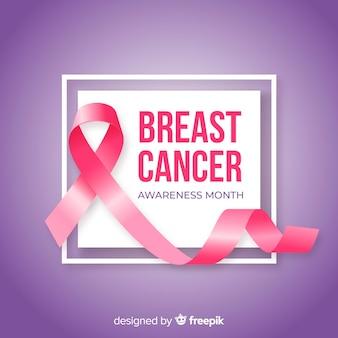 Mois de sensibilisation au cancer du sein avec ruban réaliste