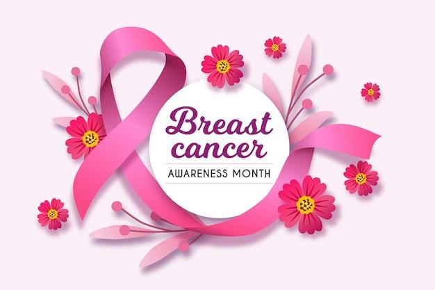 Mois de sensibilisation au cancer du sein avec ruban rose réaliste