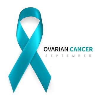Mois de la sensibilisation au cancer de l'ovaire. symbole de ruban sarcelle réaliste.