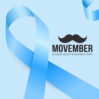 Mois de sensibilisation au cancer de la prostate movember. moustaches et fond de ruban bleu