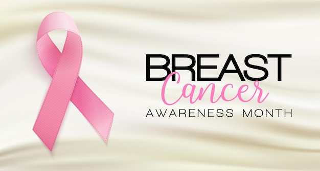 Mois sensibilisation cancer sein sur fond ruban rose illustration vectorielle