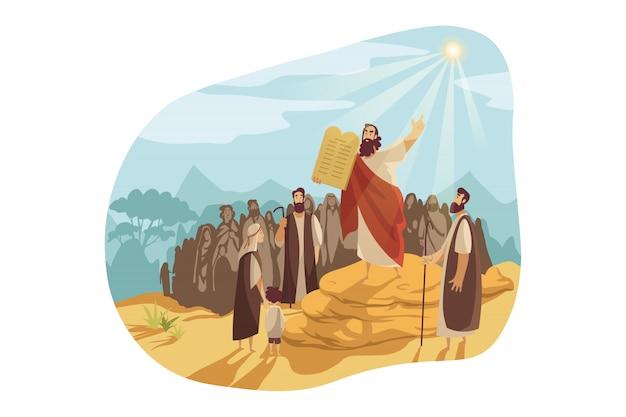 Moïse avec des dieux comprimés, concept de la bible