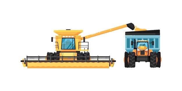 Moissonneuse agricole avec tracteur