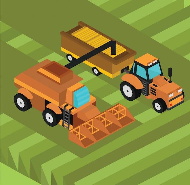 Moissonneuse batteuse et vue isométrique de tracteur 3d