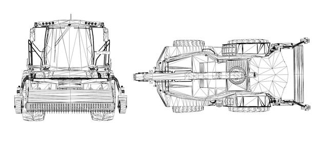 Moissonneuse moderne sur fond blanc. lignes vectorielles créatives abstraites connectées à des points.