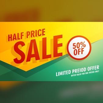Moitié prix vente bannière affiche ou flyer template conception