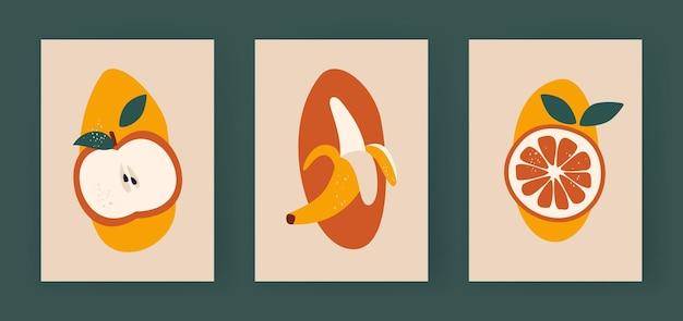 Moitiés abstraites de fruits pomme minimaliste avec des feuilles