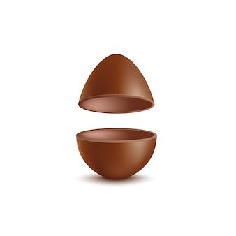 Des moitiés d'oeuf en chocolat de pâques illustration réaliste.