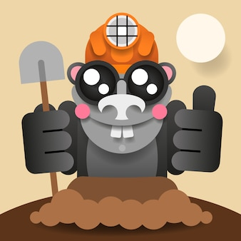 Mole digging out du vecteur de personnage de dessin animé animal de terre