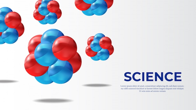 Molécule 3d bannière science sphère