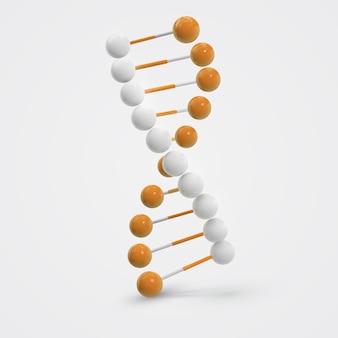 Molécule d'adn molécule isolé sur blanc