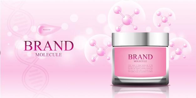 Molécule cosmétique fond rose emballage 3d