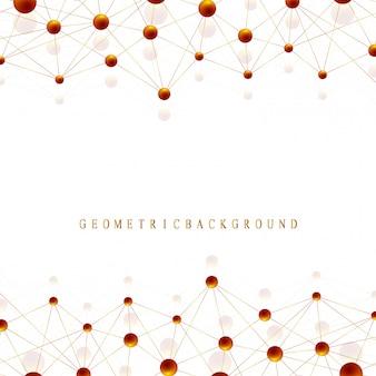 Molécule de fond graphique géométrique et communication. complexe de big data avec des composés dorés. lignes plexus, tableau minimal. visualisation des données numériques. illustration cybernétique scientifique.