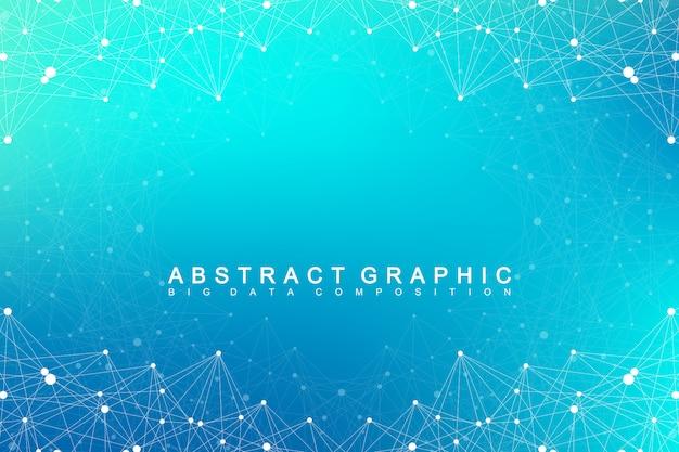 Molécule de fond graphique géométrique et communication. complexe de big data avec des composés. visualisation des données numériques. illustration cybernétique scientifique.