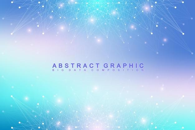 Molécule de fond graphique géométrique et communication. complexe de données volumineuses avec des composés. toile de fond de perspective. tableau minimal big data. visualisation des données numériques. illustration vectorielle scientifique.