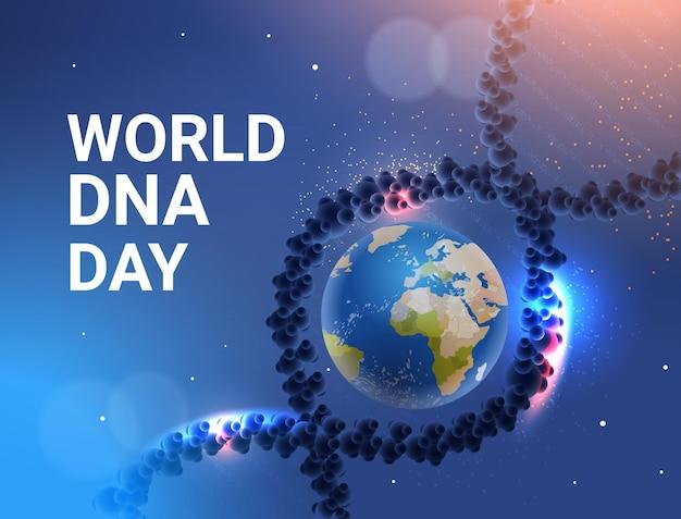 Molécule hélicoïdale d'adn génétique humaine avec la planète terre globe monde clinique de l'adn recherche et test de traitement médical