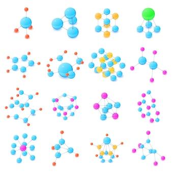 Molecule icons set. illustration isométrique de 16 icônes vectorielles de molécule pour le web