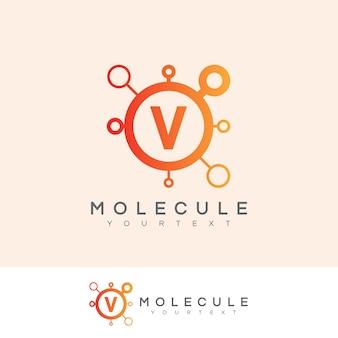Molécule initiale lettre v logo design