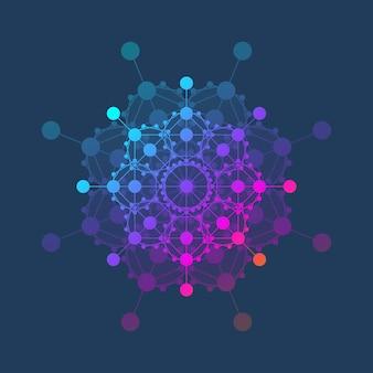 Molécule logo modèle icône science génétique logotype adn hélice analyse génétique recherche biotechnologie co...