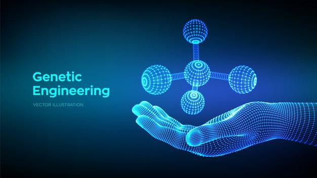 Molécule à la main. adn, atome, neurones. molécules et formules chimiques.