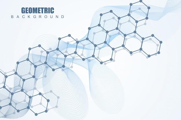 Molécule de structure et communication. adn, atome, neurones. concept scientifique pour votre conception. lignes connectées avec des points. médical, technologie, chimie, formation scientifique. illustration.