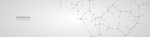Molécules abstraites sur une large bannière horizontale grise douce