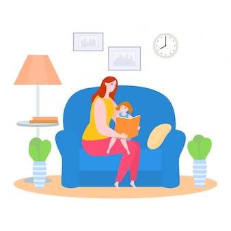 Moment de la mère avec l'illustration de la fille, personnage de dessin animé maman lisant un livre de contes de fées à une petite fille