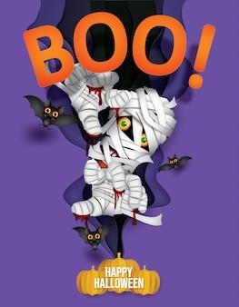 Momie effrayante et chauves-souris, fond heureux halloween.