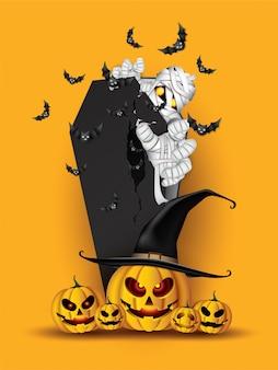 Momie effrayante dans le cercueil et les chauves-souris, fond happy halloween.