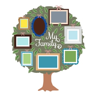 Mon arbre généalogique avec des cadres rétro sur le feuillage