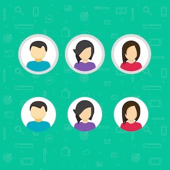 Mon compte ou tour icônes vectorielles avatar set cartoon plat