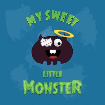 Mon doux petit monstre sur fond bleu