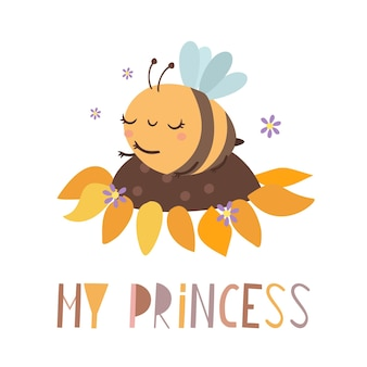 Mon lettrage de princesse avec abeille sur un tournesol