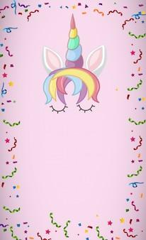 Mon logo de licorne magique en couleur pastel avec fond blanc