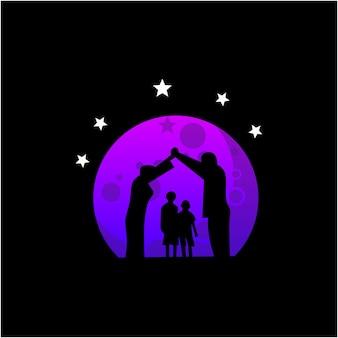 Mon logo de silhouette de famille sur le vecteur de lune