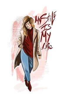 Mon style est le slogan de ma vie avec une jeune femme en manteau