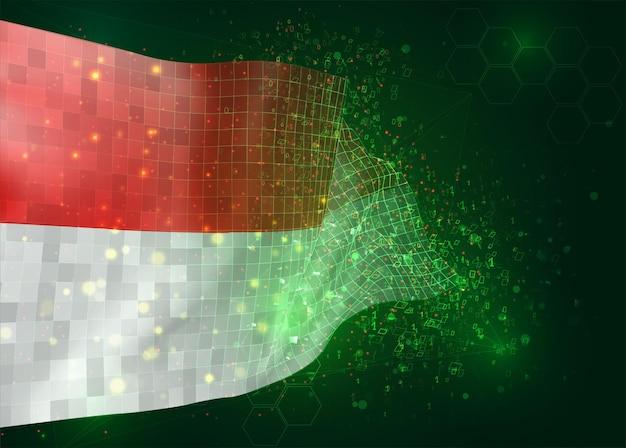 Monaco, indonésie, sur le drapeau 3d vectoriel sur fond vert avec des polygones et des numéros de données