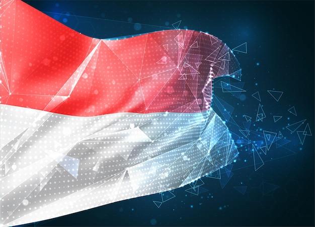 Monaco, indonésie, vecteur drapeau 3d sur fond bleu avec interfaces hud