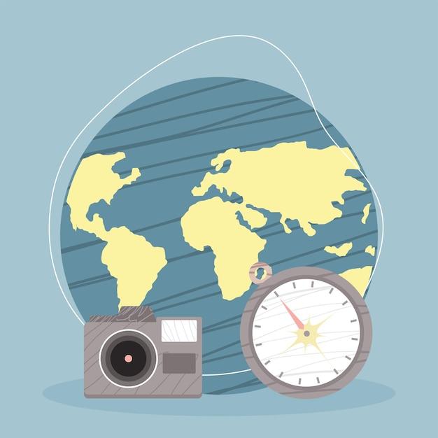 Monde avec appareil photo et boussole
