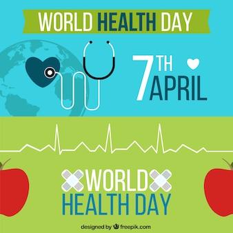 Monde bannières de jour de santé en design plat