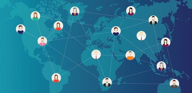 Monde connecté aux médias sociaux
