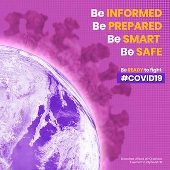 Monde contaminé par le coronavirus et conseils de l'oms sur l'illustration de la crise covid-19 annonce sociale vectorielle