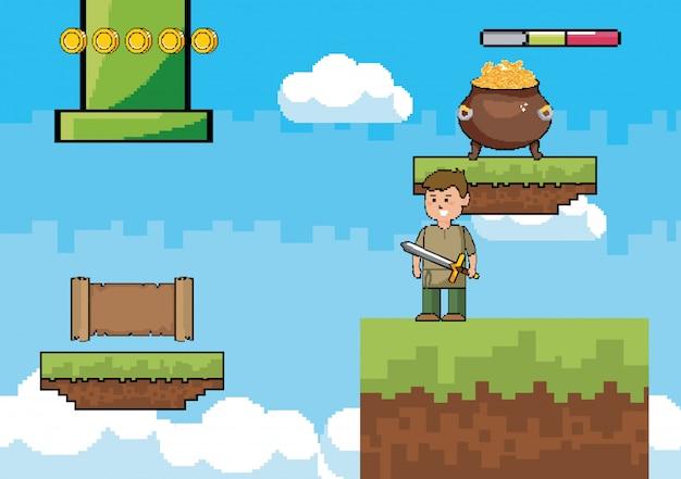 Monde du jeu d'arcade et scène de pixel